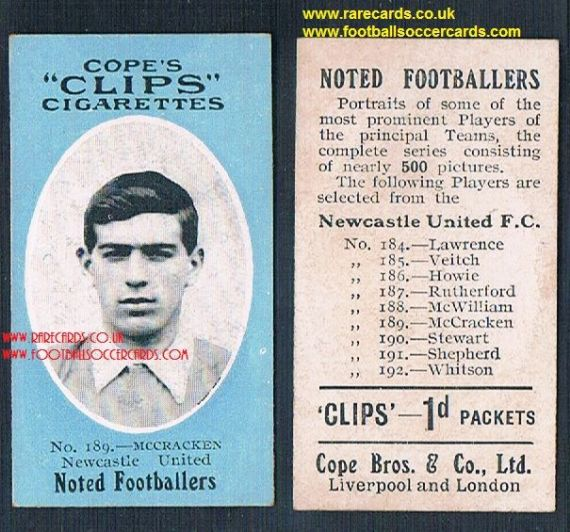 1909 Cope's Clips 3rd series Noted Footballers, 500 back, 189 McCracken NUFC